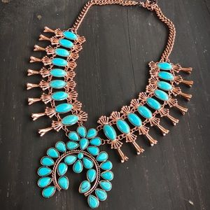 Jewelry - Copper & Turquoise Squash Blossom Necklace